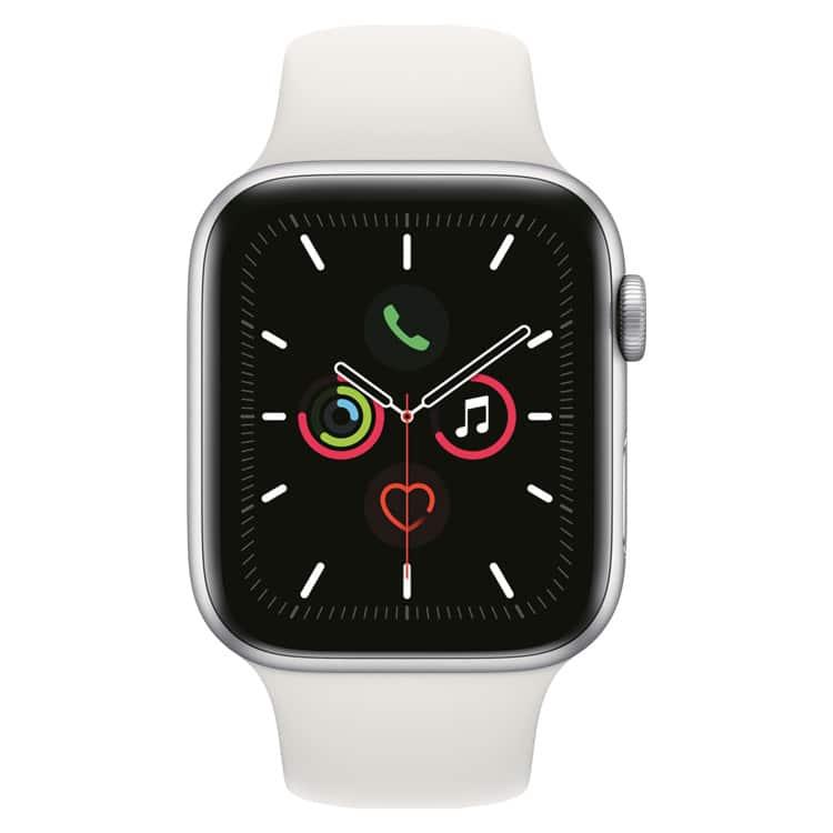 Apple Watch 5: Zilver met wit sportbandje (voorkant)