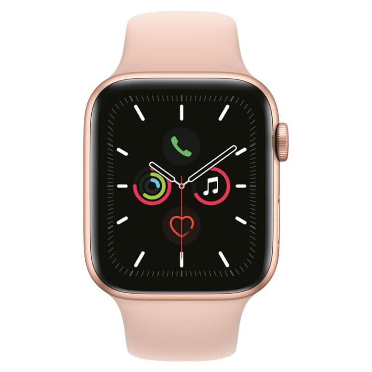 Apple Watch 5 | Goud | Roze sportbandje (voorkant)
