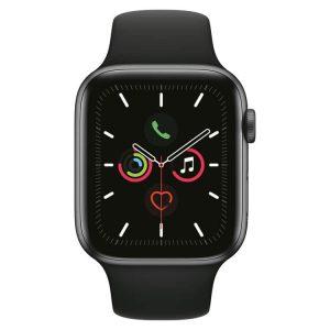 Apple Watch 5: Spacegrijs met zwart sportbandje (voorkant)
