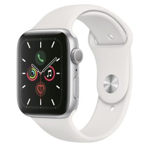 Apple Watch 5: Zilver met wit sportbandje