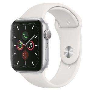 Apple Watch 5: Zilver met wit sportbandje