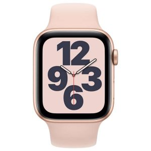 Apple Watch SE 44mm goud met roze sportbandje