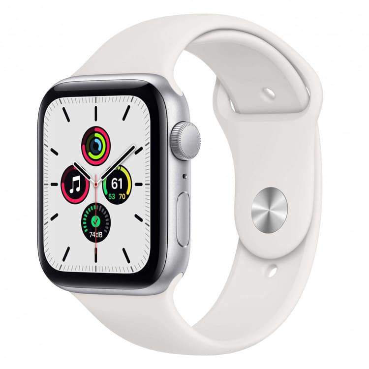 Apple Watch SE 44mm Zilver met wit sportbandje