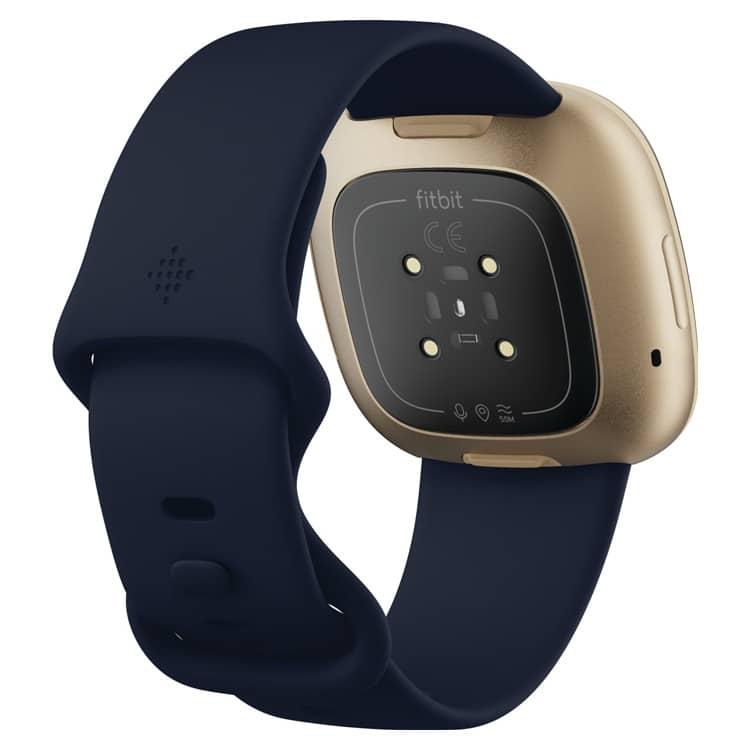 Fitbit Versa 3 Blauw/Goud: achterkant en sensor