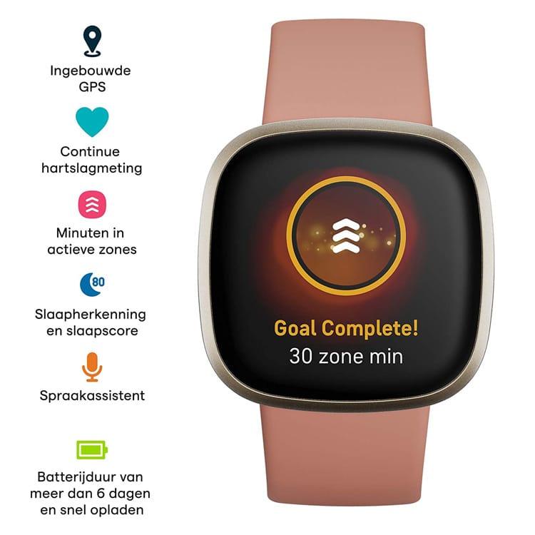 Functies van de Fitbit Versa 3 (roze)
